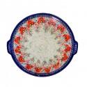 Polish Pottery CHAMPAGNE EX LG Round Stoneware Platter-Pizza Stone | UNIKAT