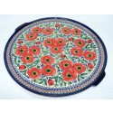 Polish Pottery BELLISSIMA EX LG Round Stoneware Platter-Pizza Stone   EX-UNIKAT