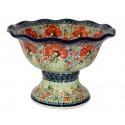 Polish Pottery CHAMPAGNE Stoneware Pedestal Bowl | UNIKAT