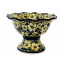 Polish Pottery BLUE CITRINE Stoneware Pedestal Bowl | UNIKAT