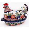 Polish Pottery BUTTERFLY MERRY MAKING 2-Piece 1.5-Liter Hen Stoneware Casserole | UNIKAT