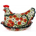 Polish Pottery 1.5L RED BACOPA Hen Covered Casserole | UNIKAT