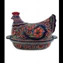 Polish Pottery CHERISHED FRIENDS 2-Piece 1.5-Liter Hen Stoneware Casserole | UNIKAT