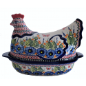 Polish Pottery STRAWBERRY BUTTERFLY 2-Piece 1.5-Liter Hen Stoneware Casserole | UNIKAT