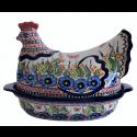 Polish Pottery 1.5L STRAWBERRY BUTTERFLY Hen Covered Casserole | UNIKAT