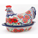 Polish Pottery BELLISSIMA 2-Piece 1.5-Liter Hen Stoneware Casserole | EX-UNIKAT