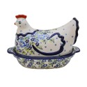 Polish Pottery 1.5L TRUE BLUES Hen Covered Casserole | ARTISAN