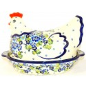 Polish Pottery 1.5L TRUE BLUES Hen baked casserole | ARTISAN