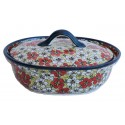 Polish Pottery RED BACOPA 1.5-Liter Covered Stoneware Casserole | UNIKAT