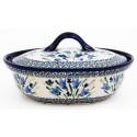 Polish Pottery BLUE TULIP 1.5-Liter Covered Stoneware Casserole | UNIKAT