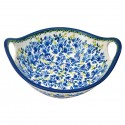 "Polish Pottery BLUE FLOWER 10"" Handled Stoneware Bowl 