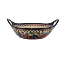 Polish Pottery BUTTERFLY MERRY MAKING 11.5-inch Handled Stoneware Salad-Baker Bowl | UNIKAT
