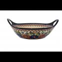 Polish Pottery BUTTERFLY MERRY MAKING 11.5-inch Handled Stoneware Salad-Baker Bowl | UNIKAT