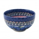 "Polish Pottery BLUE PANSY 4.5"" Rice Stoneware Bowl 