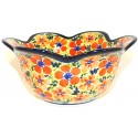 Polish Pottery LOVE 6.5 Tulip Petal Stoneware Bowl   ARTISAN