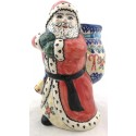 "Polish Pottery Vena CANDYCANE 8"" Stoneware Santa with Bag"