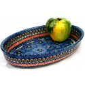 Polish Pottery BLUE PANSY 11-inch Stoneware Oval Baker | UNIKAT