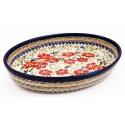 Polish Pottery LOVE BLOSSOMS 11-inch Stoneware Oval Baker | EX UNIKAT