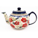 Polish Pottery LOVE BLOSSOMS 34-oz Stoneware Teapot | EX UNIKAT