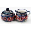 Polish Pottery CHERISHED FRIENDS Stoneware Creamer & Sugar | UNIKAT