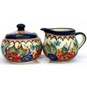 Polish Pottery BUTTERFLY MERRY MAKING Stoneware Creamer & Sugar | UNIKAT