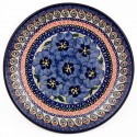 "Polish Pottery BLUE PANSY 7.75"" Stoneware Salad Plate | UNIKAT"