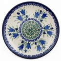 "Polish Pottery 7.75"" BLUE TULIP Stoneware Salad Plate | UNIKAT"