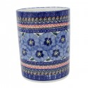"Polish Pottery BLUE PANSY 7"" Stoneware Utensil Jar | UNIKAT"