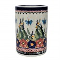 Polish Pottery BUTTERFLY MERRY MAKING 7-inch Stoneware Utensil Jar | UNIKAT