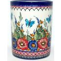 "Polish Pottery BUTTERFLY MERRY MAKING 7"" Stoneware Utensil Jar | UNIKAT"