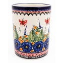 "Polish Pottery STRAWBERRY BUTTERFLY 7"" Stoneware Utensil Jar 