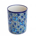 "Polish Pottery BLUE LAGOON 7"" Stoneware Utensil Jar | UNIKAT"
