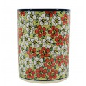 "Polish Pottery RED BACOPA 7"" Stoneware Utensil Jar 