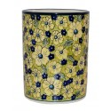 "Polish Pottery BLUE CITRIN 7"" Stoneware Utensil Jar 