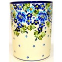 "Polish Pottery TRUE BLUES 7"" Stoneware Utensil Jar 