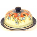 "Polish Pottery CHAMPAGNE 7"" Covered Round Stoneware Dish 