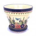 "Polish Pottery BUTTERFLY MERRY MAKING 7.75""x6.5"" Stoneware Flower Pot | UNIKAT"