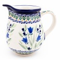 Polish Pottery 3.6 Cup BLUE TULIP Pitcher | UNIKAT