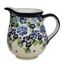 Polish Pottery TRUE BLUES 3.6-Cup Stoneware Pitcher | ARTISAN