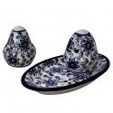 Polish Pottery RIVERBANK Salt And Pepper Tray Set   CLASSIC