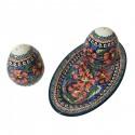 Polish Pottery CHERISHED FRIENDS Salt & Pepper & Tray Stoneware Set | UNIKAT