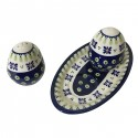 Polish Pottery DROPS OF JOY Salt & Pepper & Tray Stoneware Set | CLASSIC