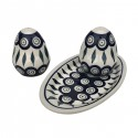 Polish Pottery EYE OF THE PEACOCK Salt & Pepper & Tray Stoneware Set | CLASSIC