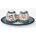 Polish Pottery Salt & Pepper & Tray Stoneware Set | CLASSIC