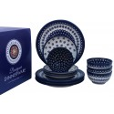 Polish Pottery FLOWERING & FLOWERING PEACOCK 12-Piece Designer Dinnerware Set | CLASSIC