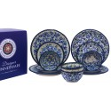 Polish Pottery TRUE BLUES & BLUE FLOWER 12-Piece Designer Dinnerware Stoneware Set | ARTISAN
