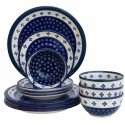 Polish Pottery FLURRY OF JOY 12-Piece Designer Stoneware Dinner Set | CLASSIC