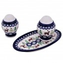 Polish Pottery CARIBOU LODGE Salt & Pepper & Tray Stoneware Set | CLASSIC