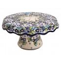 Polish Pottery TRUE BLUES Pedestal Stoneware Cake Plate   ARTISAN