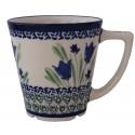 POLISH POTTERY STONEWARE LATTE MUG | Blue Tulip